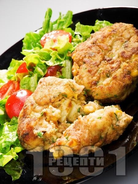 Пържени кюфтета от картофи, царевица и риба тон - снимка на рецептата